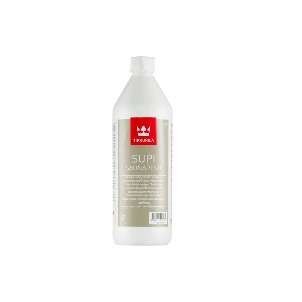 Средство моющее для очистки поверхностей в сауне Tikkurila Supi Saunapesu | Тиккурила Супи Саунапесу, бесцветное, 1 л, 00170990010