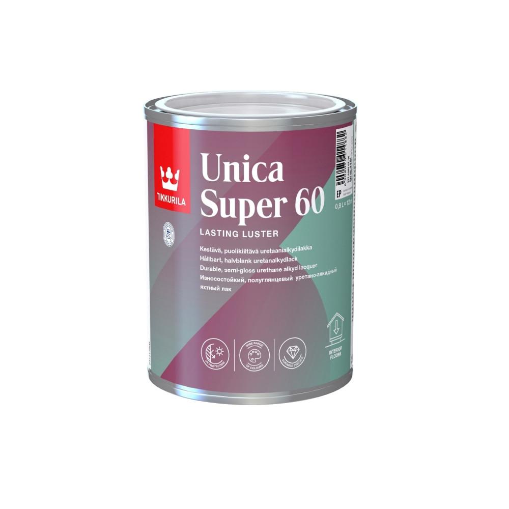 Лак износостойкий универсальный для наружных и внутренних работ Tikkurila Unica Super 60   Тиккурила Уника Супер 60 55764040110_cfg
