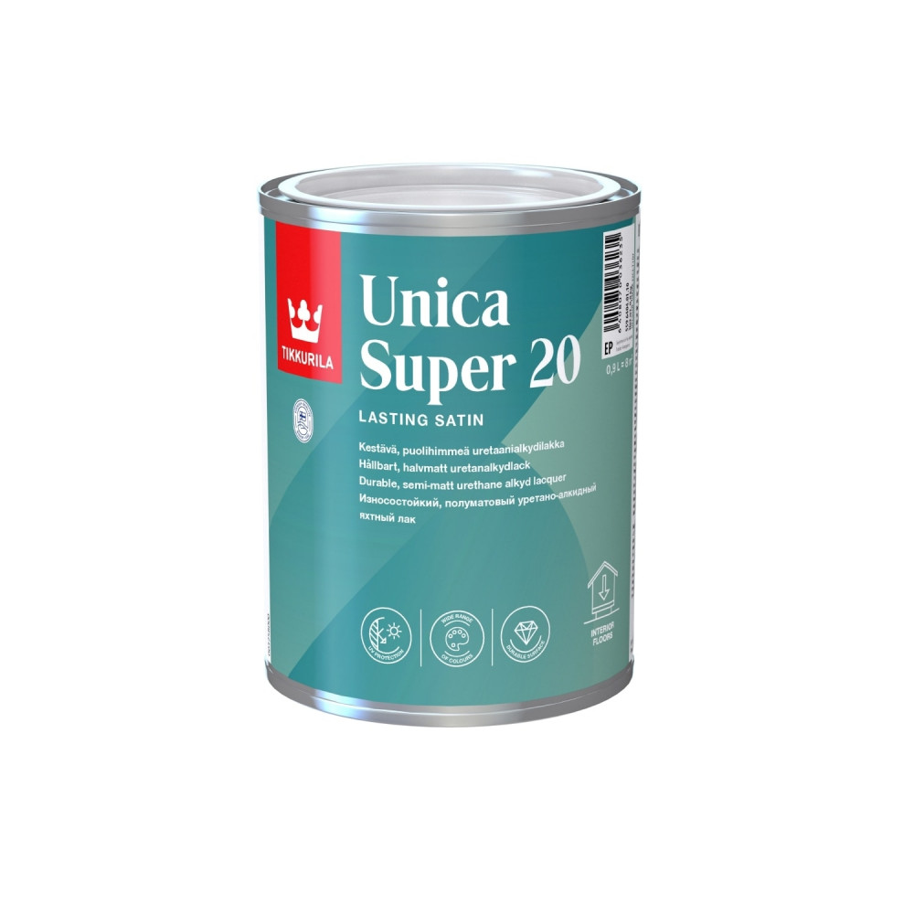 Лак износостойкий универсальный для наружных и внутренних работ Tikkurila Unica Super 20 | Тиккурила Уника Супер 20 55964040110_cfg