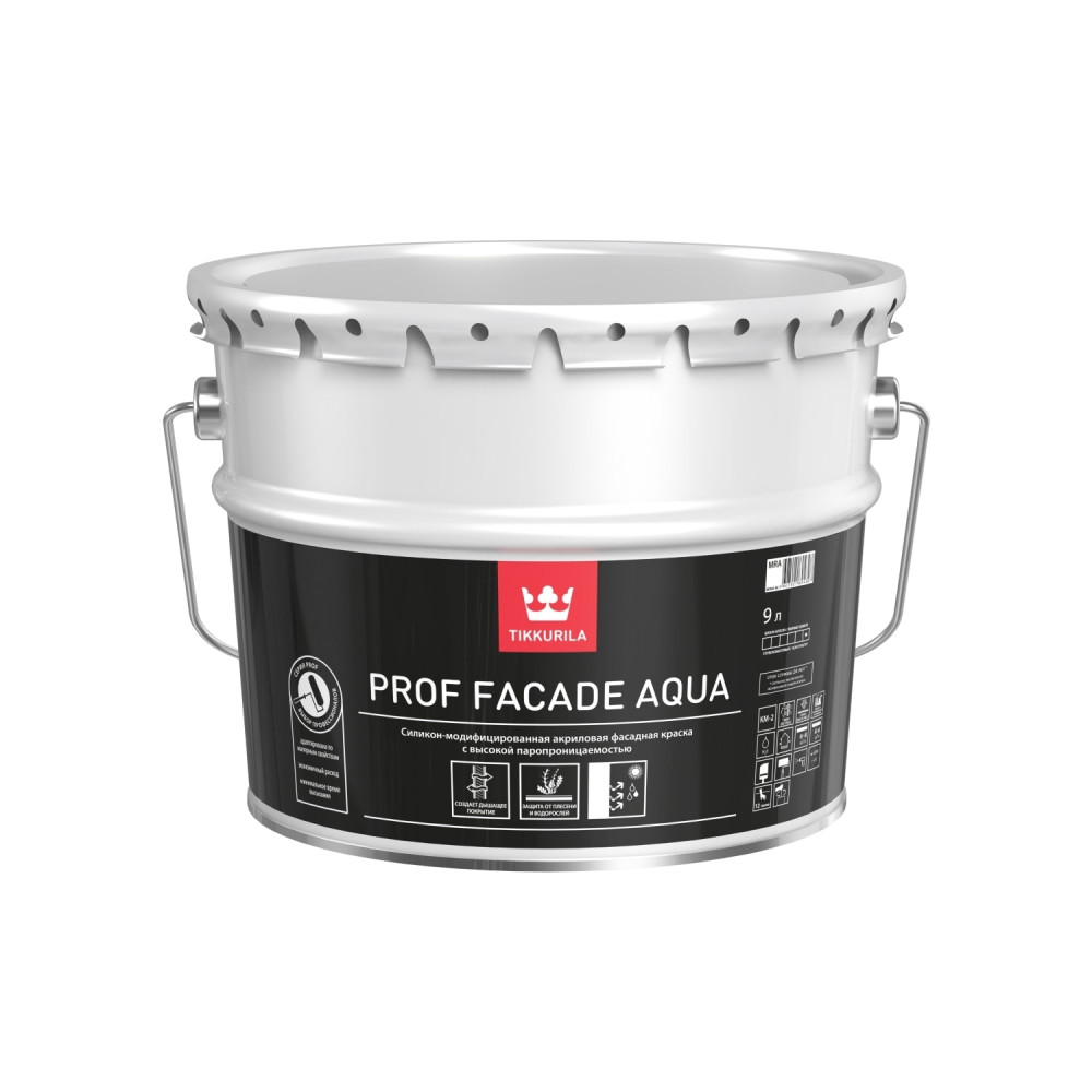 Краска силикон-модифицированная фасадная с высокой паропроницаемостью Tikkurila Prof Facade Aqua | Тиккурила Проф Фасад Аква 700001153_cfg