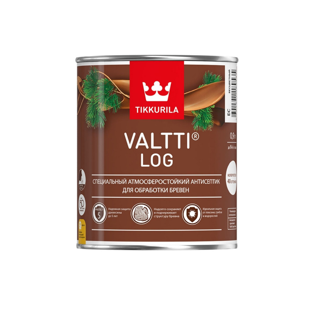 Антисептик лессирующий атмосферостойкий для обработки бревен Tikkurila Valtti Log | Тиккурила Валтти Лог 700010345_cfg