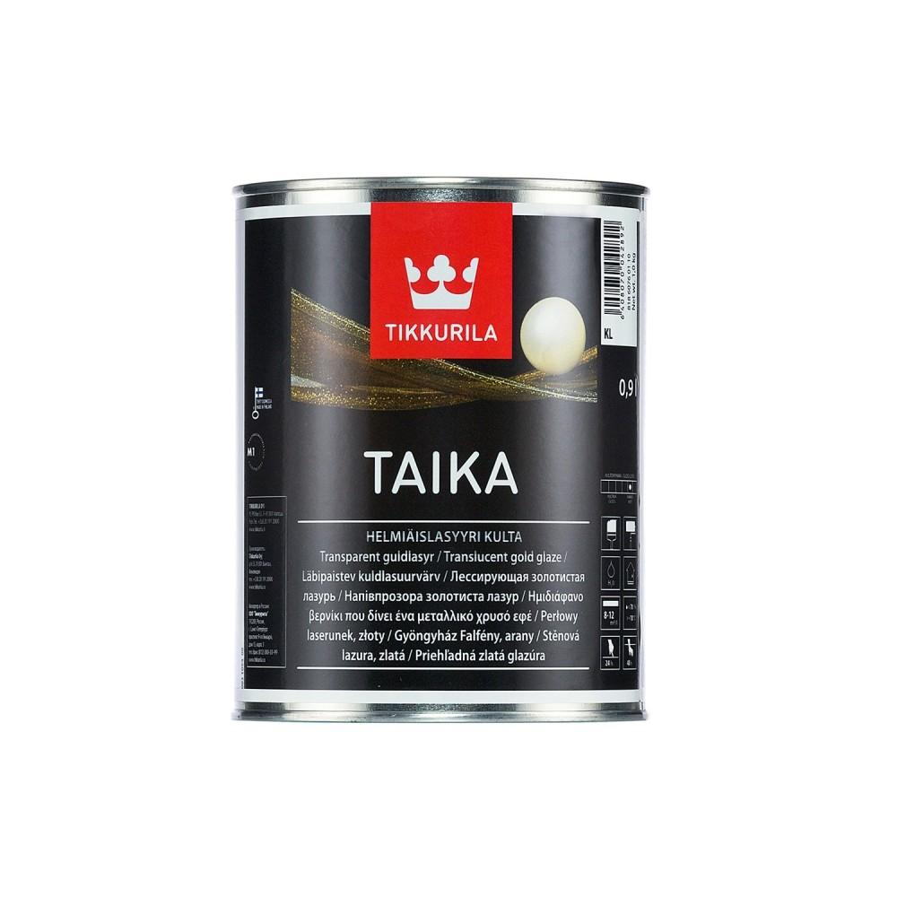 Краска декоративная интерьерная Tikkurila Taika Helmiäismaali Kulta | Тиккурила Тайка, полуглянцевая, лазурь-золотистая, 0.9 л, 81860760110