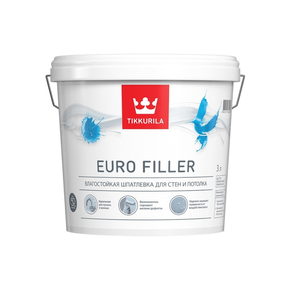 Шпатлевка влагостойкая для стен и потолка Tikkurila Euro Filler | Тиккурила Евро Филлер 700012219_cfg